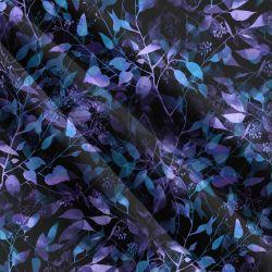 Teplákovina fialovo-modré lístky- 270 gsm