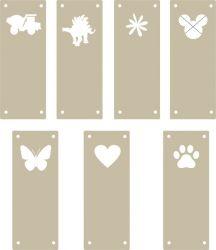 Koženkový štítek vyřezávaný malý- béžová 115 -varianty | Auto, Dinosaurus, Kytička, Mickey, Motýl, Srdíčko, Tlapka