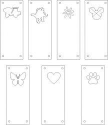Koženkový štítek vyřezávaný malý- bílý varianty | Auto, Dinosaurus, Kytička, Mickey, Motýl, Tlapka