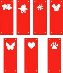 Koženkový štítek vyřezávaný malý- jasně červená 70-varianty | Auto, Dinosaurus, Kytička, Mickey, Motýl, Srdíčko, Tlapka