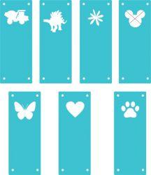 Koženkový štítek vyřezávaný malý- tyrkysový 73-varianty | Auto, Dinosaurus, Kytička, Mickey, Motýl, Srdíčko, Tlapka