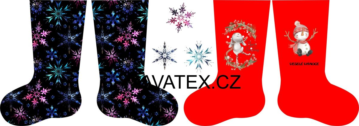 PANEL vánoční punčocha- desén 3 vyrobeno v EU