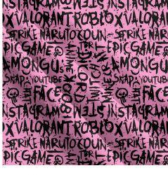 Populární texty na růžové- digitální tisk | Funkční úplet TORINO 140 gsm, GARZATO - funkční úplet počesaný, LYCRA 200, DOLOMITY, Softshell zimní 320 gsm, Softshell jarní 285 gsm, Softshell letní pružný , Kočárkovina , Micropeach