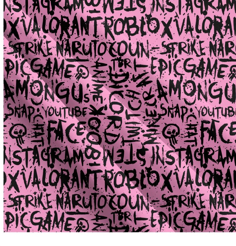Populární texty na růžové- digitální tisk mavaga design