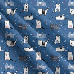 Roztomilé kočičky na modré -sublimační digitální tisk   Funkční úplet TORINO 140 gsm, GARZATO 200gsm- funkční úplet počesaný, Kočárkovina , LYCRA 200, Micropeach, Softshell jarní 285 gsm, Softshell letní pružný 220gsm, Softshell zimní 320 gsm, DOLOMITY