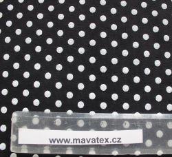 Teplákovina černá puntíky - 0,7 cm EU-úplety atest pro děti