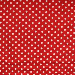 Teplákovina červená s bílými puntíky  - 0,7 cm