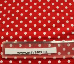 Teplákovina červená s bílými puntíky - 0,7 cm EU-úplety atest pro děti