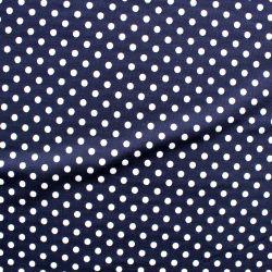Teplákovina tmavě modrá s bílými puntíky -0,7 cm