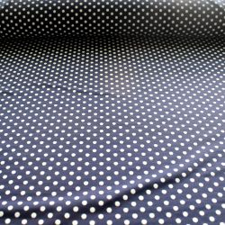 Teplákovina tmavě modrá s bílými puntíky -0,7 cm EU-úplety atest pro děti