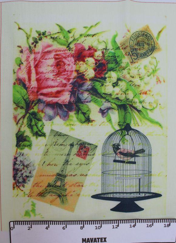 panelový tisk ptáček v kleci - tisk na látku Tukan