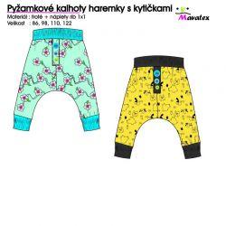 Střih PDF-Pyžamkové haremky s kytičkami