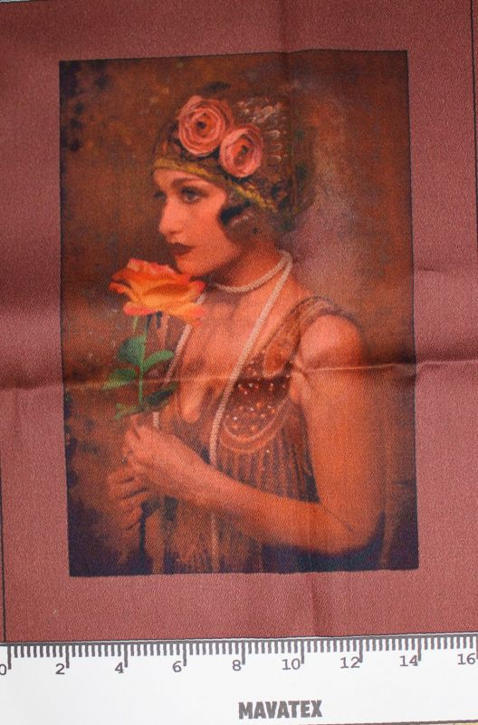Panel dívka s růží- tisk obrázků, obrázky na látce Tukan