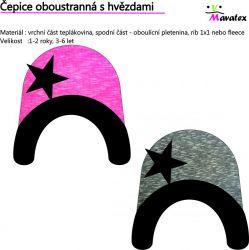 Čepice oboustranná s hvězdami