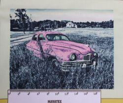 Panel retro auto růžové-VELKÉ