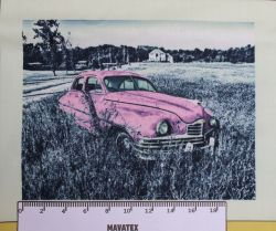 Panel retro auto růžové