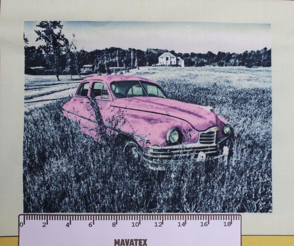 Panel retro auto růžové- tisk obrázků, obrázky na látce , látka auto Tukan