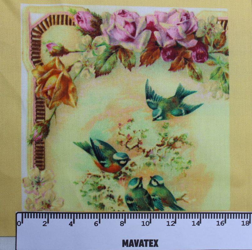 panelový tisk 4 ptáčci s růžemi- tisk obrázků, obrázky na látce vyrobeno v EU