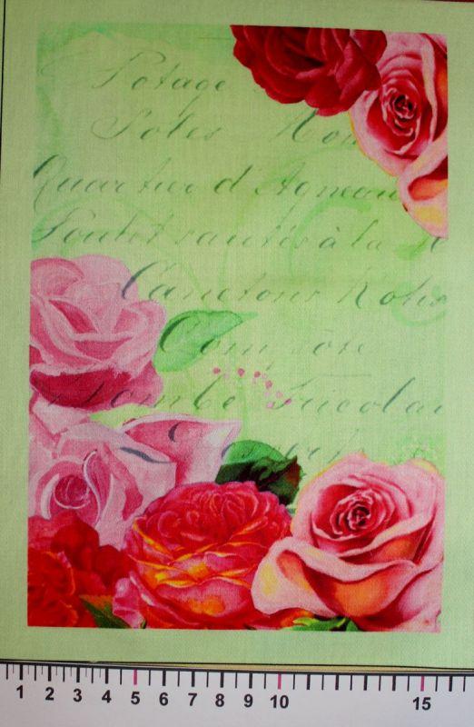 Panelový tisk - růže na zeleném podkladu - tisk obrázků, obrázky na látce, designový tisk, tisk na přání Tukan